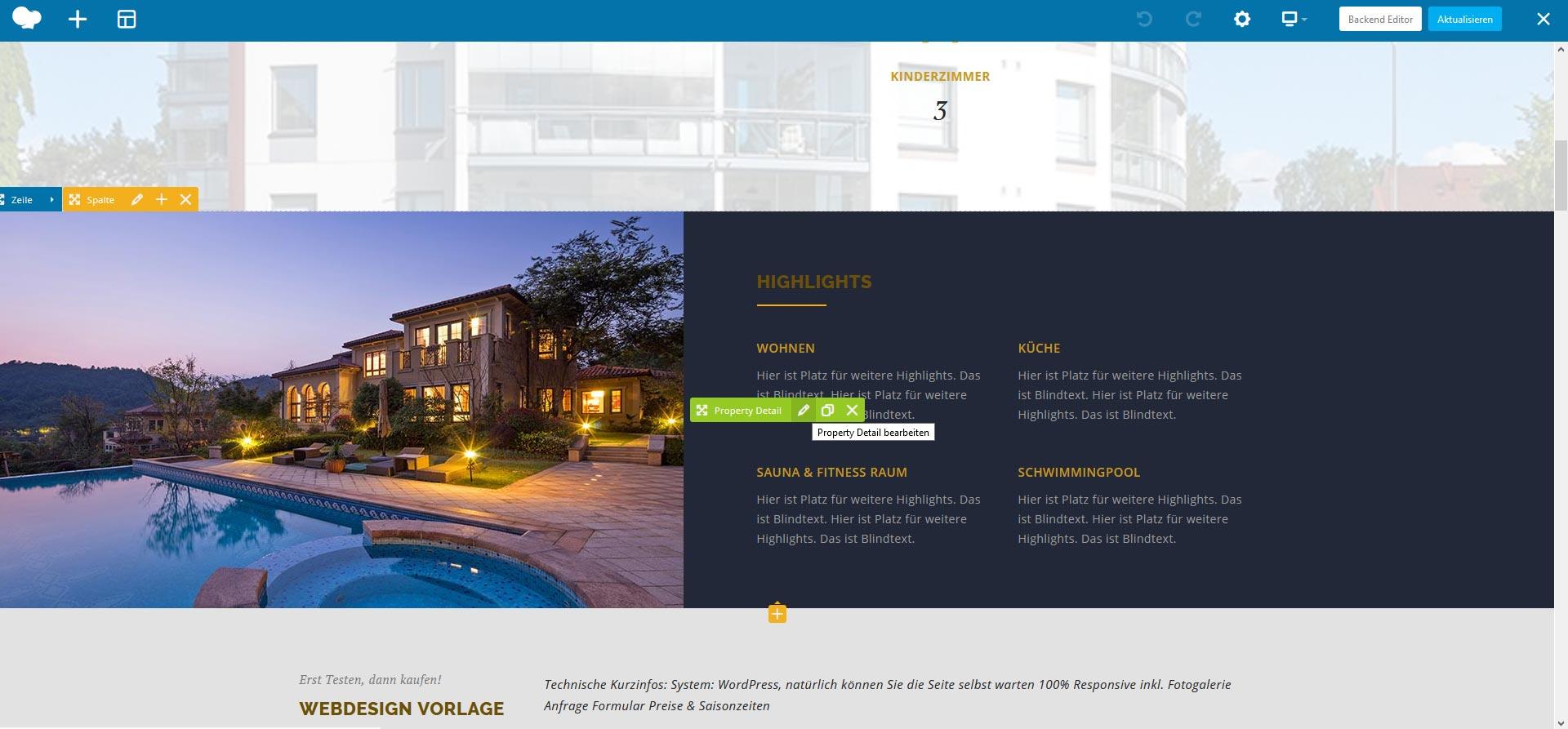 Website Bearbeitung in Liveansicht