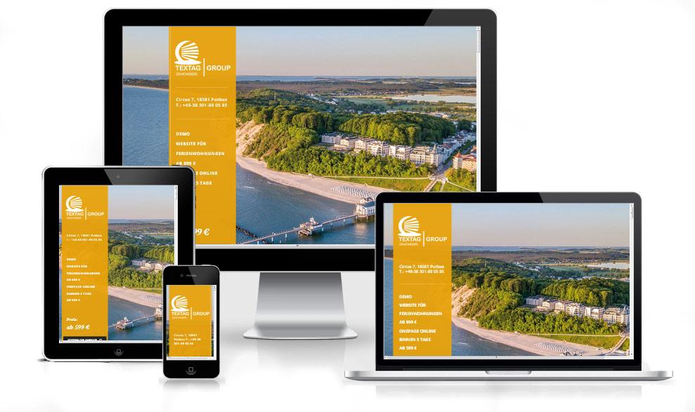 Webdesign Vorlag für Ferienwohnungen