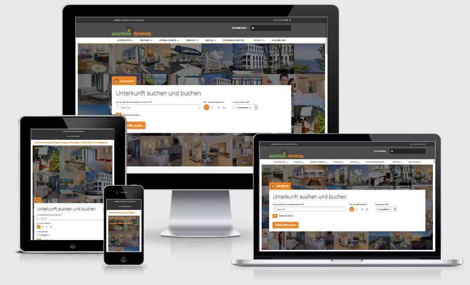 Responsive Webdesign Referenz, Webdesign Referenz: powerBienen-vermietung Putbus, Rügen, Responsive Website. Vermietung von Ferienwohnugnen