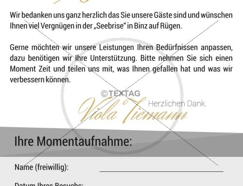 """Bewertungsbogen """"Villa Mathilde, Seebrise Binz"""" powerBienen Vermietung, Putbus"""