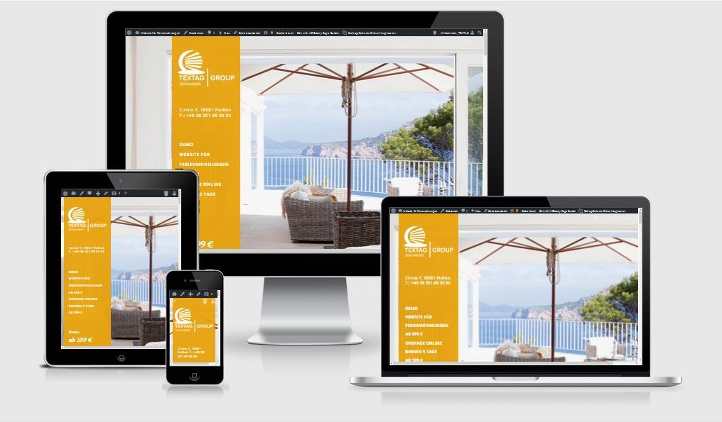 Responsive Website, Homepage für Ferienwohnungen – One Page Design Vorlage