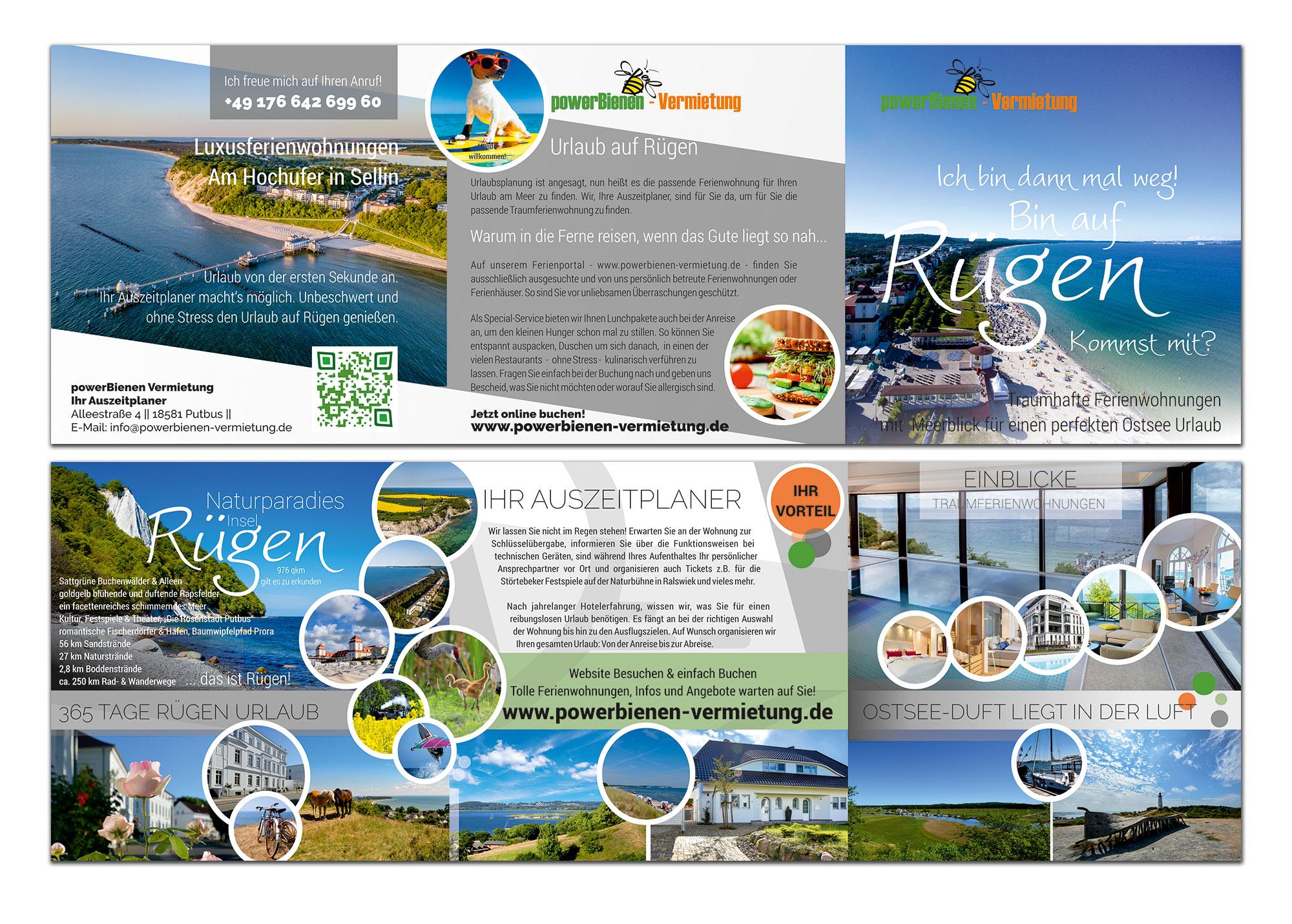 Grafik Design Referernz: Flyer powerBieren Vermietung - Putbus Vermietung von Ferienwohnungen