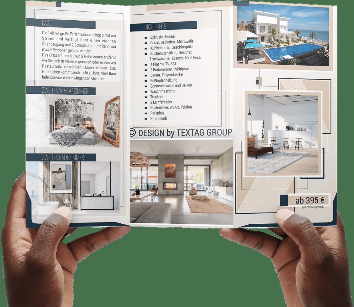 Grafik Design Vorlage Flyer Ferienwohnungen PREMIUM DIN lang