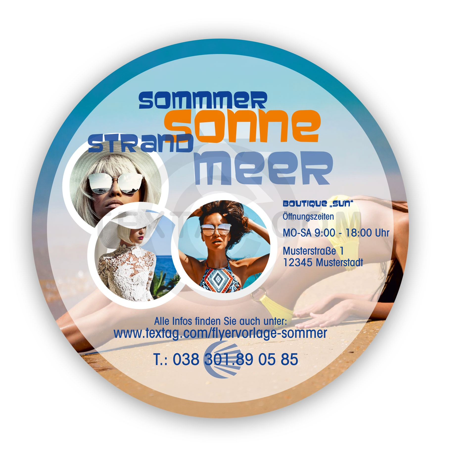 Flyer Vorlage Handel - Sommer Time 148x148 mm, rund inkl. Druck - TEXTAG GROUP Werbung