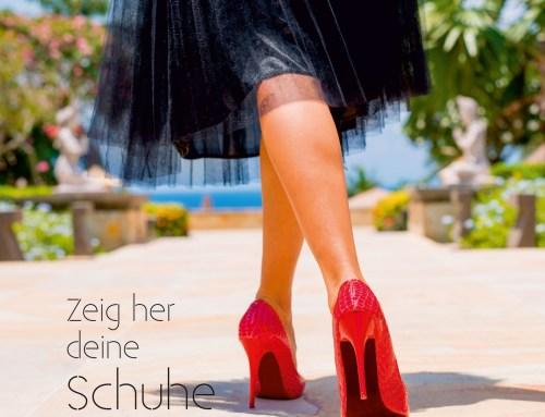 """Flyer Vorlage Handel """"Schuhe"""" – 148×148 mm, 6 Seiten, Wickelfalz"""