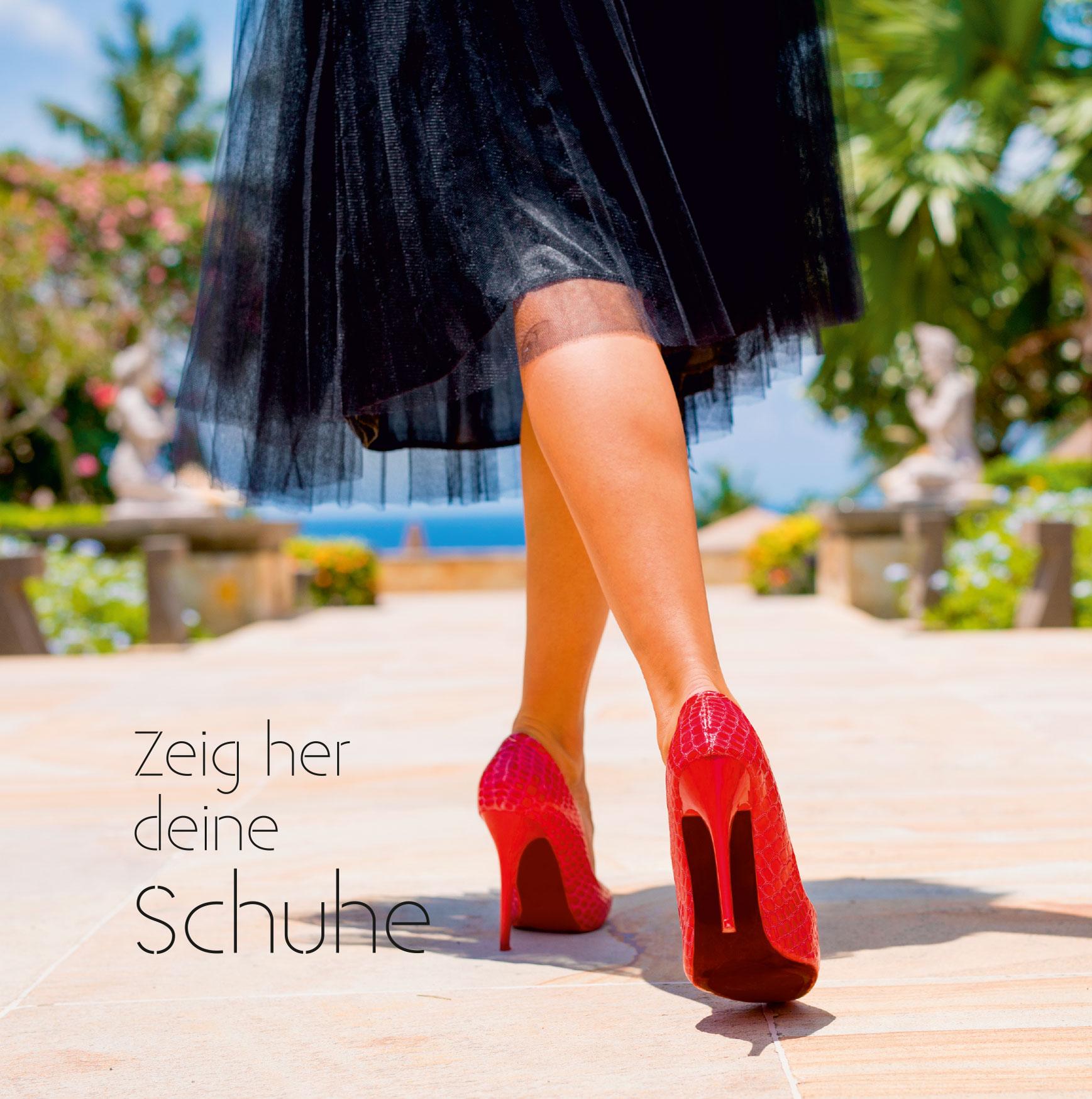 """Flyer Vorlage Handel """"Schuhe"""" - 148x148 mm, 6 Seiten, Wickelfalz"""