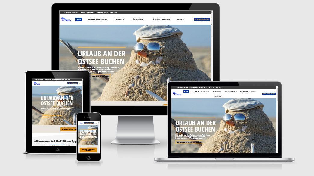 Webdesign Referenz HWS Rügen Appart - Reinigung, Ferienunterkünfte und Zimmervermittlung