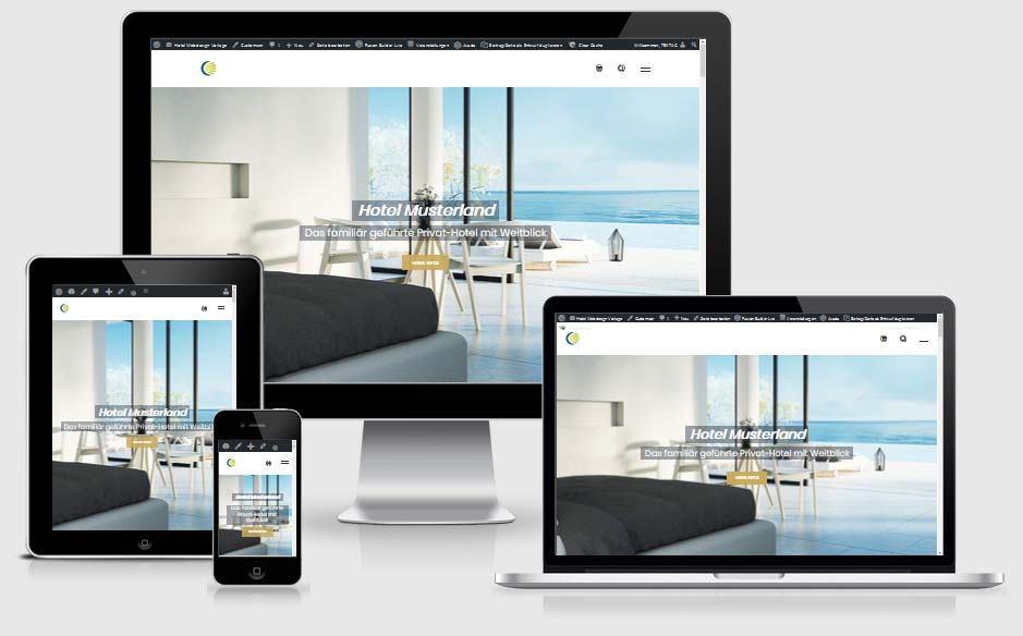 Hotel-Websitevorlage - Webdesing Voralge für Hotel, Ferienwohnungen und Ferienhäuser - TEXTAG GROUP Putbus auf Rügen