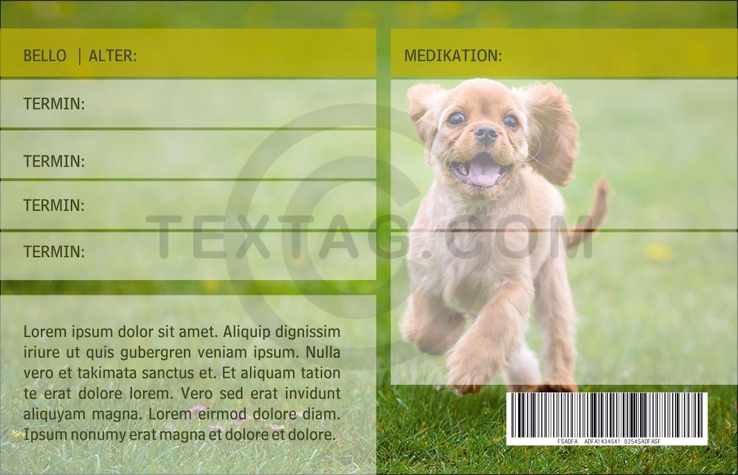 """GRASKARTE """"Notfallskarte für Hunde"""" Design Vorlage GK-2019-000137"""
