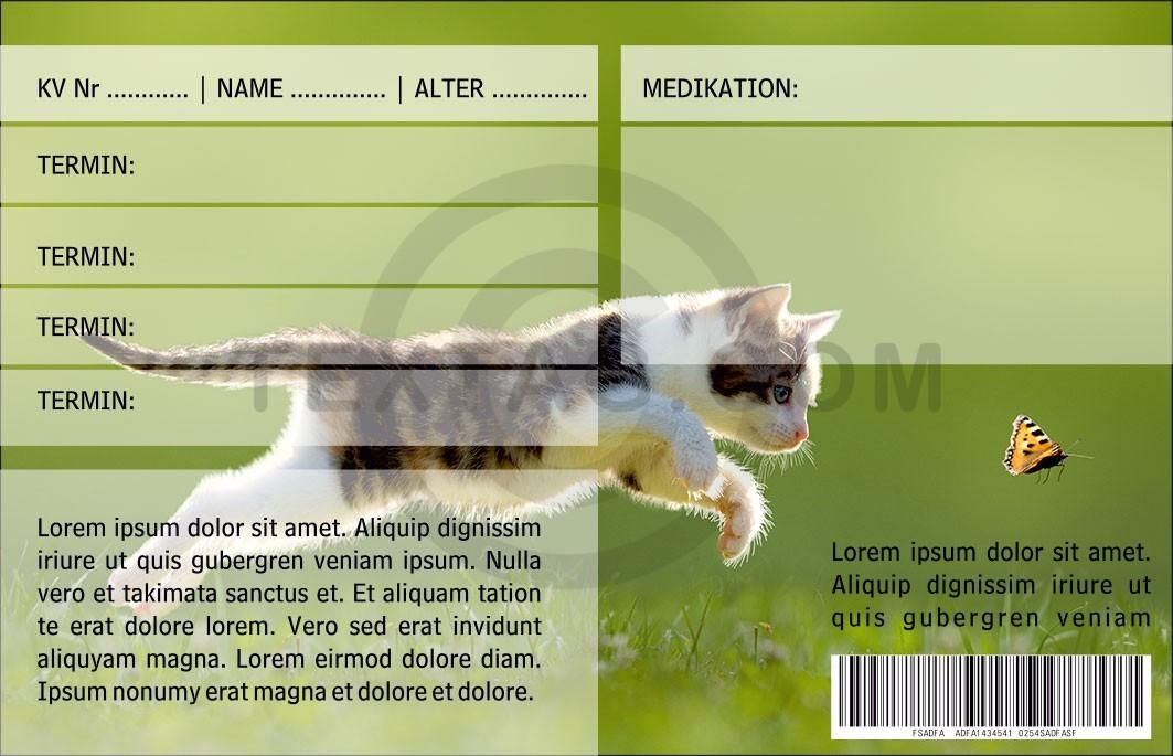 """Kundenkarte - GRASKARTE """"Kleintierarztpraxis """"Vier Pfoten"""" Design Vorlage GK-2019-000142"""