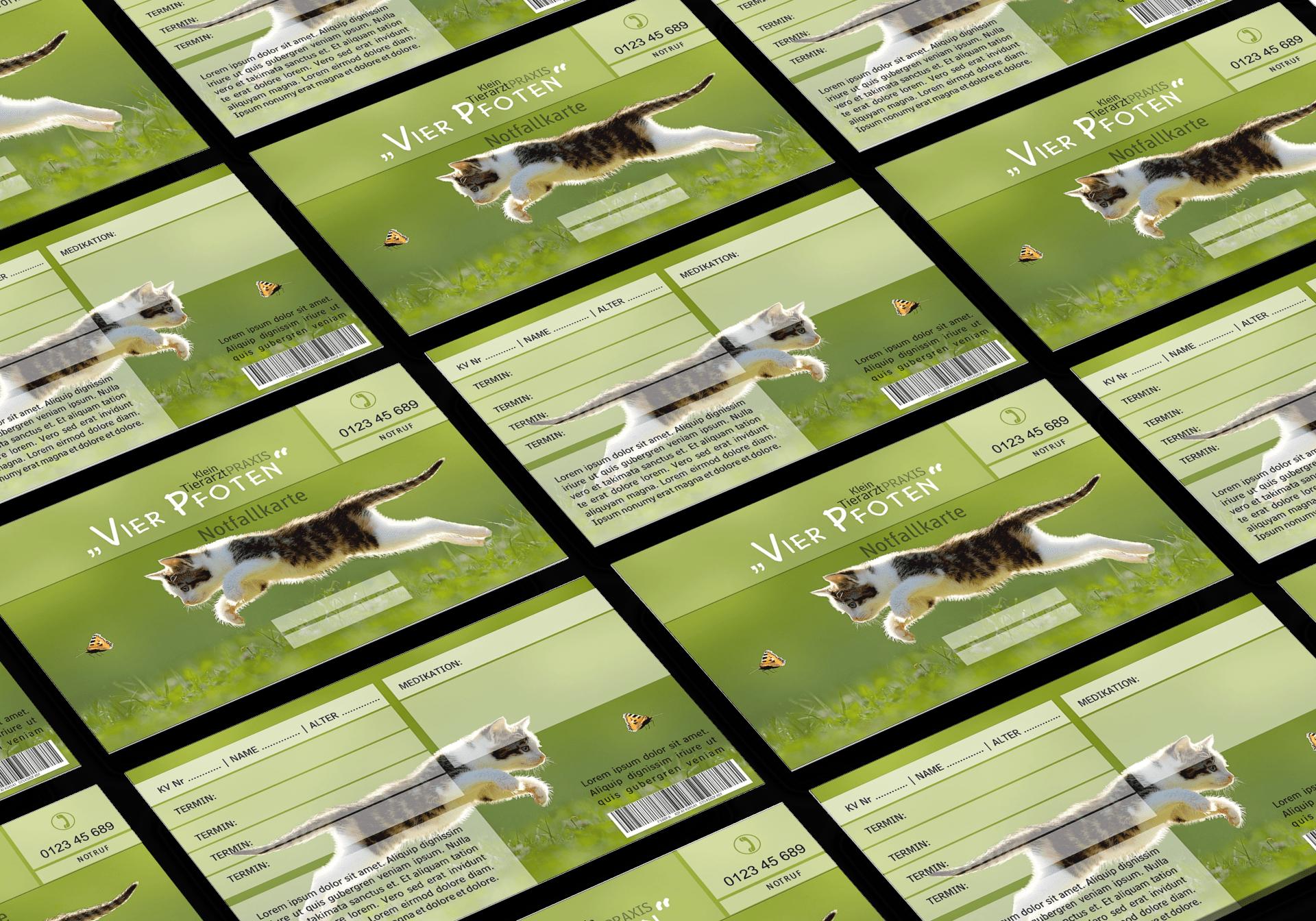 """GRASKARTE """"Kleintierarztpraxis """"Vier Pfoten"""" Design Vorlage GK-2019-000142"""