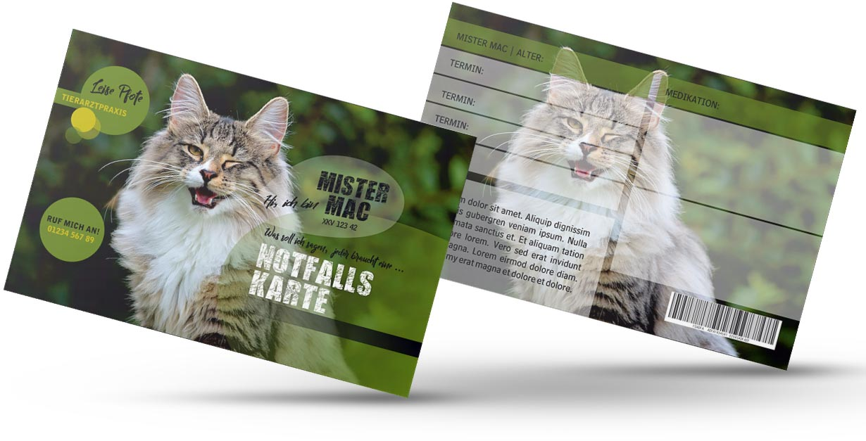 """GRASKARTE """"Notfallskarte für Katzen"""" Design Vorlage GK-2019-000138"""