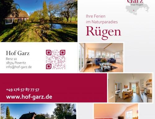 Flyer, Postkarten, Visitenkarten, Logo Grafikdesign Referenz – Hof Garz Rügen
