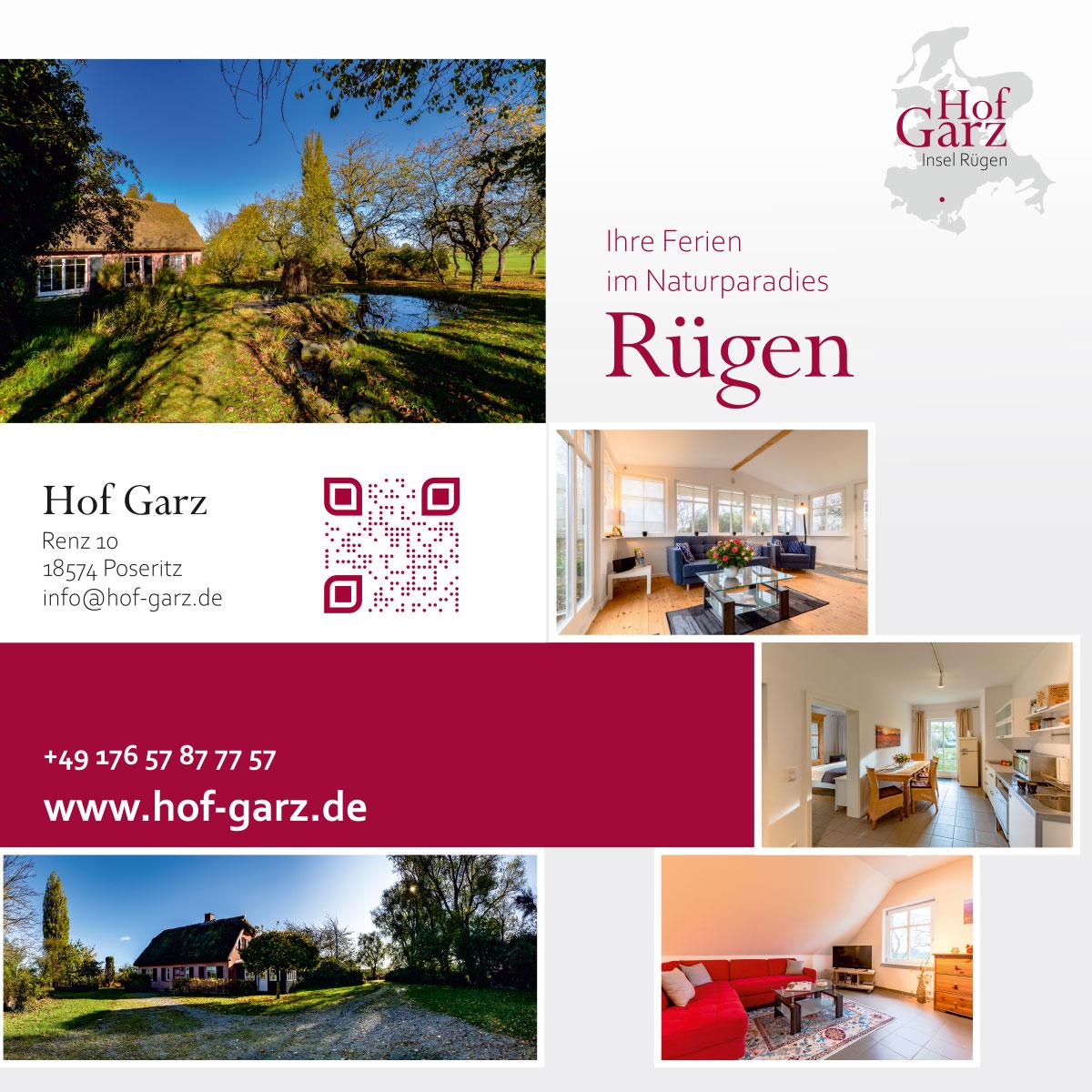 Flyer, Postkarten, Visitenkarten, Logo Grafikdesign Referenz - Hof Garz Rügen
