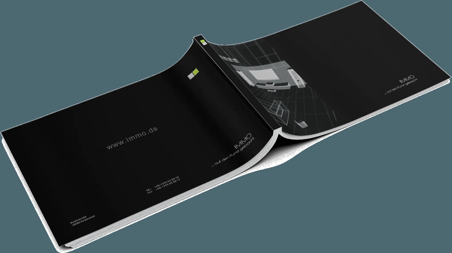 Exposévorlage IMMO BLACK – Designvorlage für Architekten & Immobilienmakler online