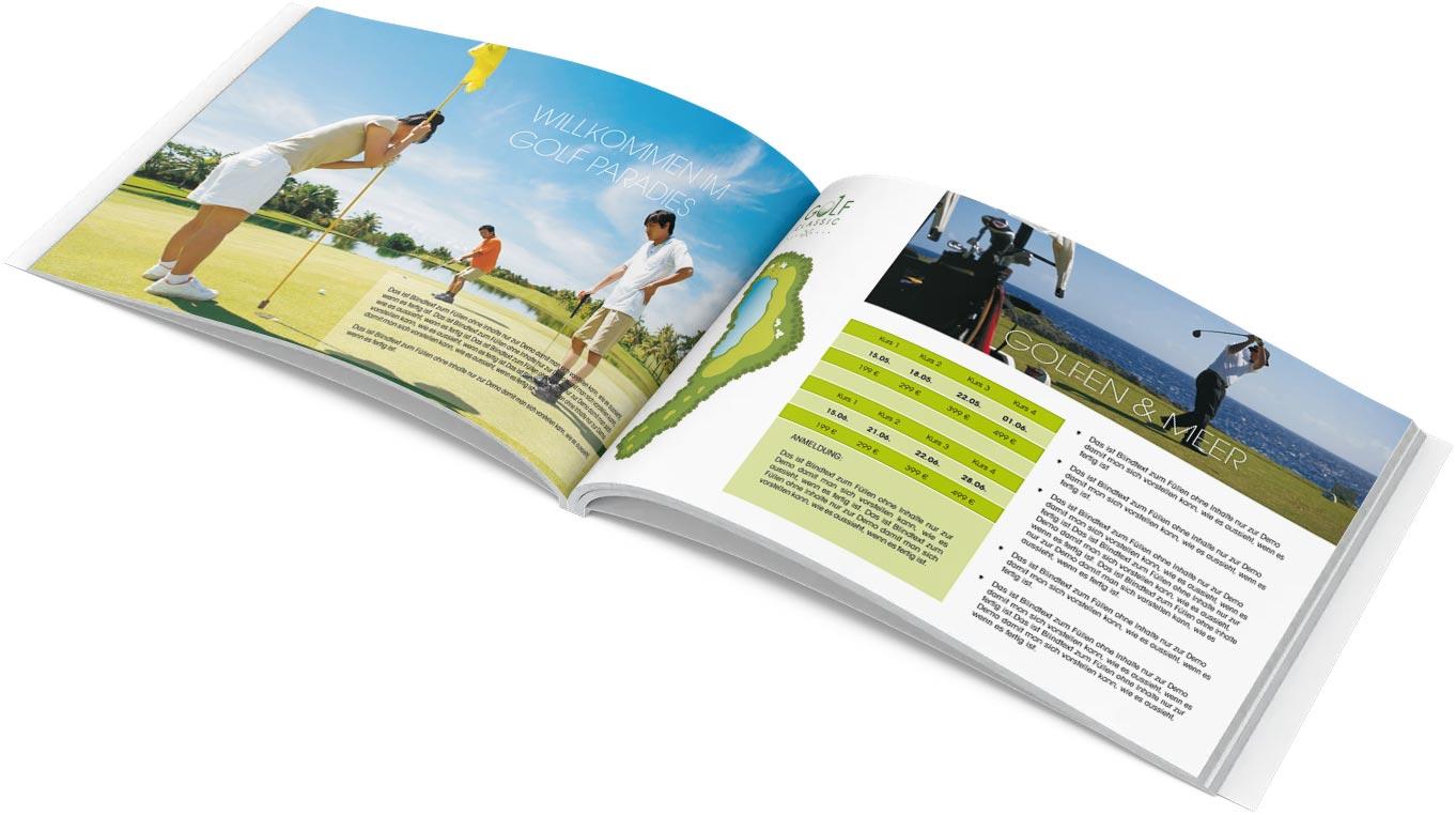 Grafik Design Hotel Golfresort Broschürevorlage, Werbeagentur TEXTAG GROUP, Putbus auf Rügen