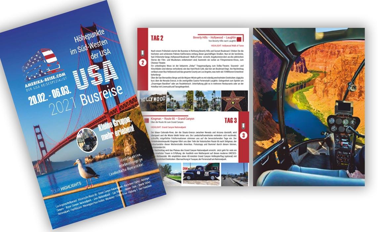 Design Referenz Busreisen USA Grafik , Amerika Heller, Krumbach, Las Vegas