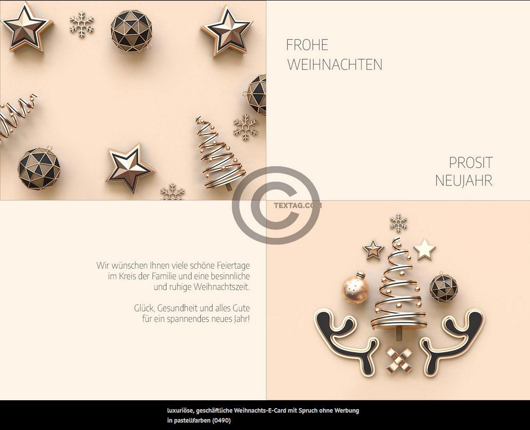 luxuriöse, geschäftliche Weihnachts-E-Card mit Spruch ohne Werbung in pastellfarben (0490)