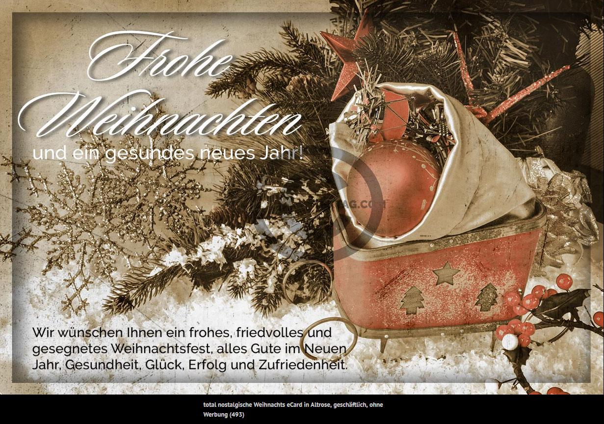 total nostalgische Weihnachts eCard mit altem Schlitten in Altrose, geschäftlich, ohne Werbung (493)