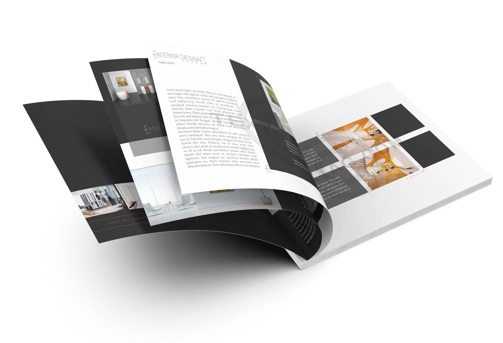 Exposé Vorlage für Immobilienmakler im Format DIN A4, Quer.