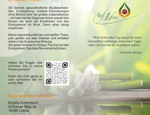 Flyer – Grafikdesign Referenz – Naturheilpraxis AufLeben, Lobbe
