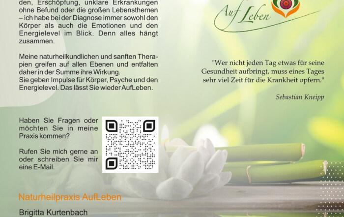 Flyer - Grafikdesign Referenz - Naturheilpraxis AufLeben, Lobbe
