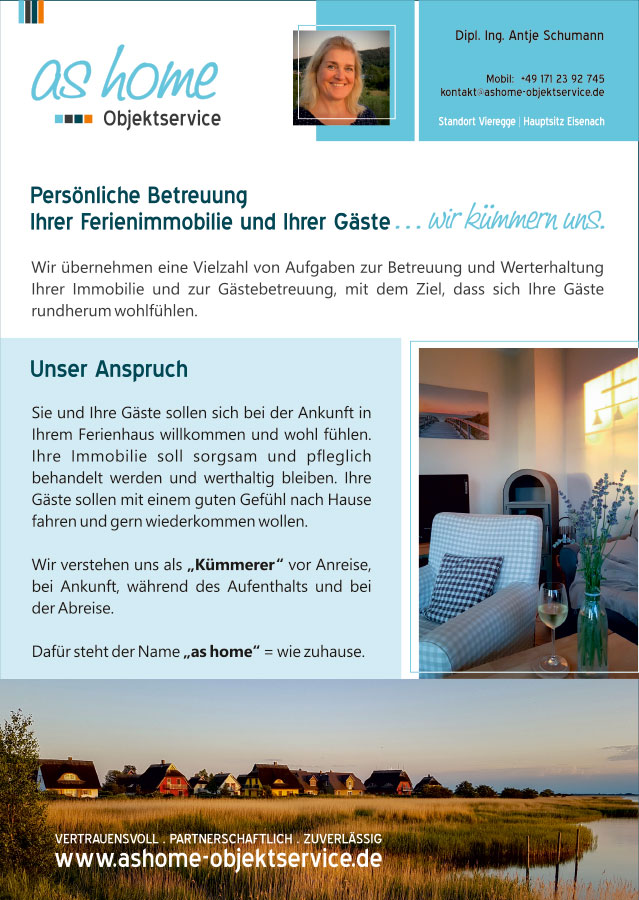 Flyer, Postkarten, Visitenkarten, Logo Grafikdesign Referenz - as home Objektservice