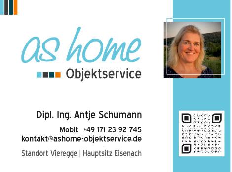 Flyer, Postkarten, Visitenkarten, Logo Grafikdesign Referenz - as home Objektservice