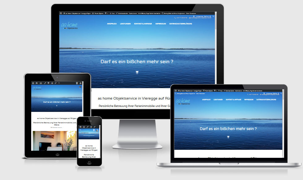 Website Referenz, One Page - as home Objektservice, Vieregge