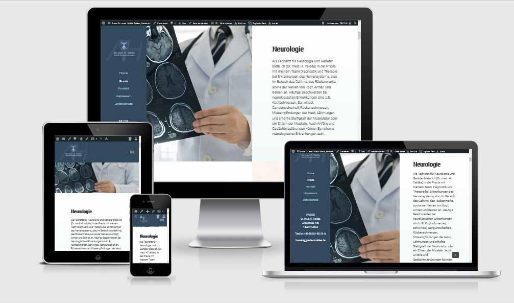 One Page Referenz: Praxis Dr. med. H. Valdés in Putbus Facharzt für Neurologie und Geriatrie