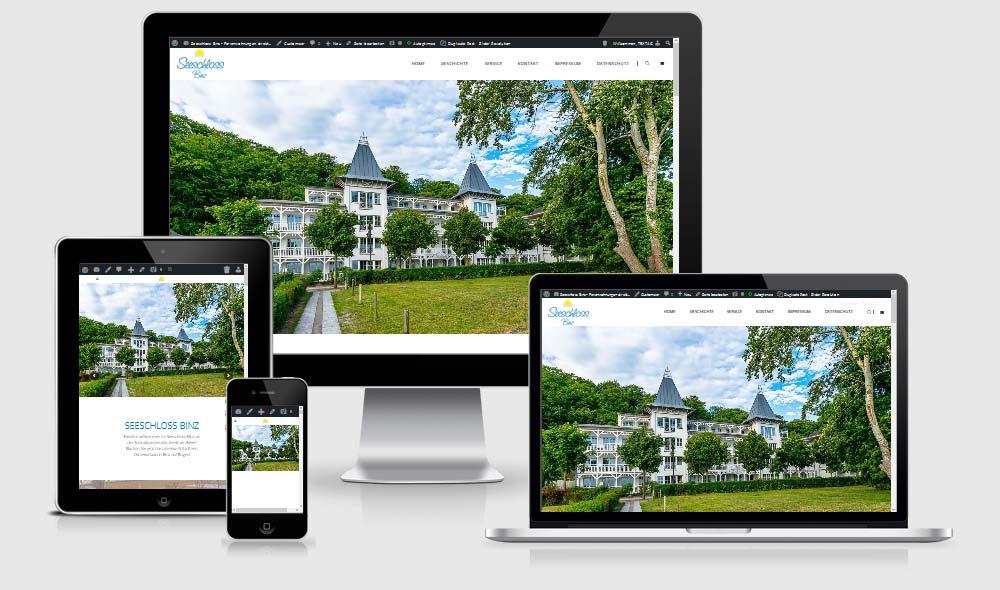Responsive Website Referenz:Seeschloss Binz, Uhlendorf Immobilien & Schöne Ferien auf Rügen
